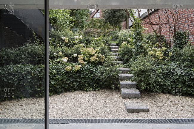 Details of a landscaped garden in Brussels, Belgium