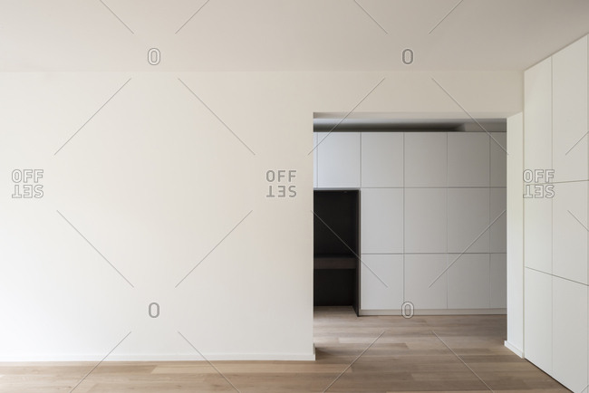 Modern minimal interior of an apartment in Uccle, Belgium