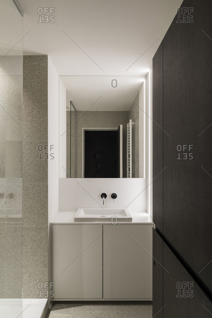 Modern bathroom of an apartment in Uccle, Belgium