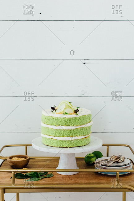 Whole homemade green cake
