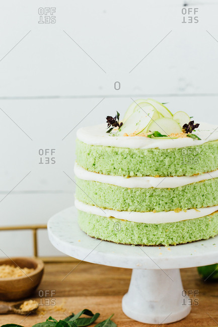 Close up of a whole homemade green cake