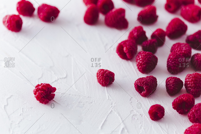 Close up of raspberries horizontal shot