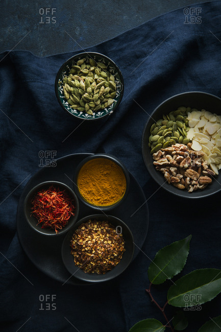 Composition of various spices overhead shot