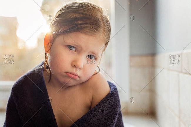 Little girl with a pouty face