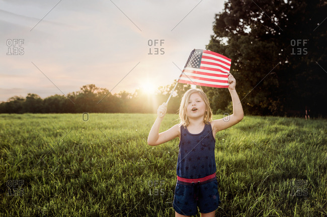 Little girl with a american flag