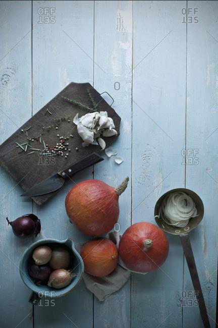 Hokkaido pumpkins- onions- garlic and herbs