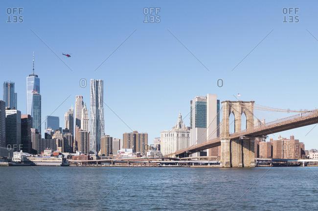 USA- New York- Manhattan- view to skyline and Brooklyn Bridge
