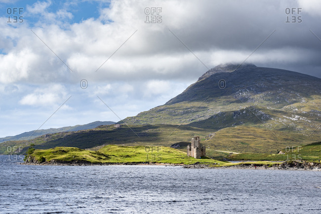United Kingdom- Scotland- Scottish Highland- Sutherland- Ardvreck Castle- Loch Assynt- Spidean Coinich mountain in the background