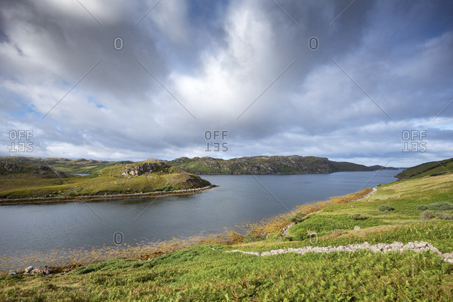 United Kingdom- Scotland- Scottish Highland- Sutherland- Kinlochbervie- Loch Inchard and sunlight