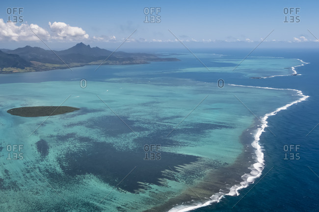 Mauritius- Indian Ocean- Aerial view of East Coast- Island Ile Aux Aigrettes