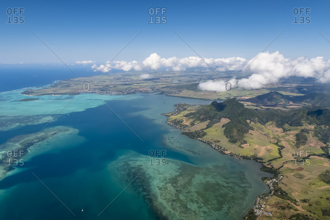 Mauritius- Indian Ocean- Aerial view of East Coast- Mahebourg and Island Ile Aux Aigrettes