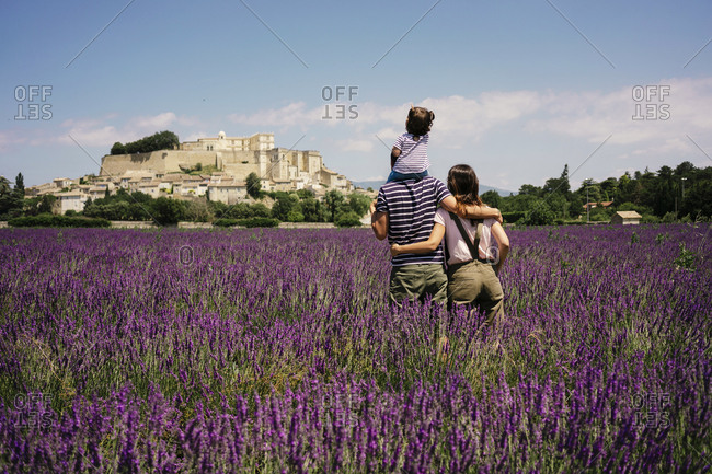 France- Grignan- back view of familiy standing in lavender field looking to the village