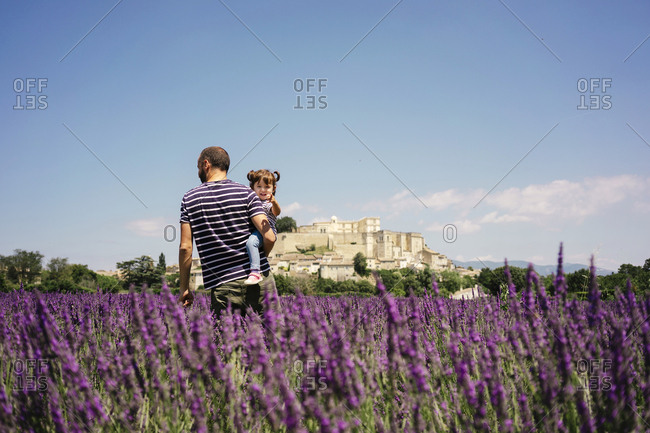 France- Grignan- father and little daughter together in lavender field