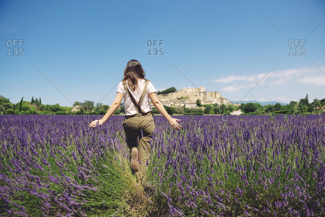 France- Grignan- back view of woman walking in lavender field