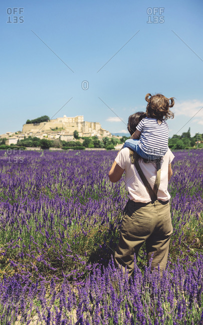 France- Grignan- back view of mother standing in lavender field with little daughter on her shoulders
