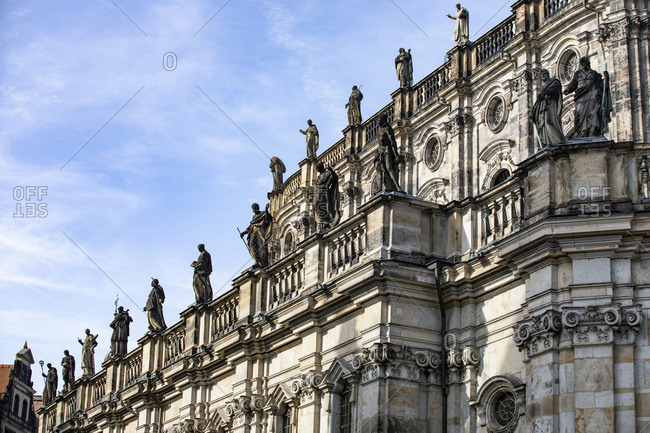 Germany- Dresden- part of facade of Catholic Church of the Royal Court of Saxony