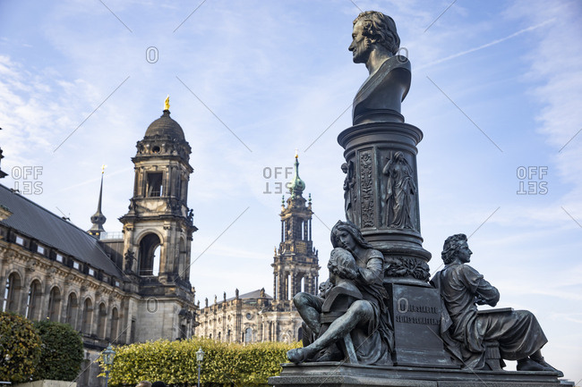 Germany- Dresden- Higher Regional Court- Dresden Cathedral and monument of Ernst Rietschel