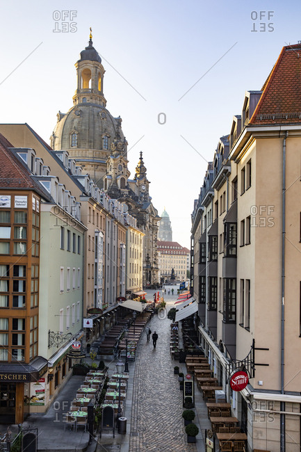 October 10, 2018: Germany- Dresden- view to Church of Our Lady with Muenzgasse in the foreground