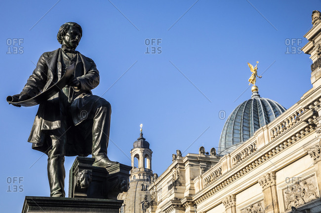 Germany- Dresden- monument of Gottfried Semper and academy of fine arts