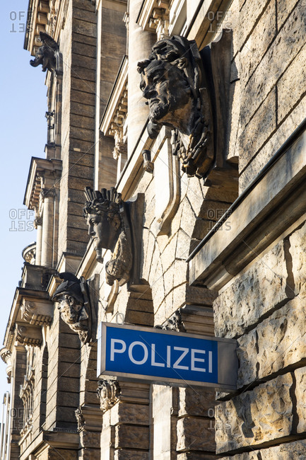 Geramny- Dresden- part of facade of police headquarter with sign 'police'