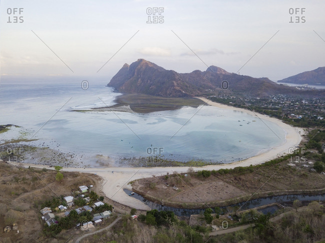 Indonesia- West Sumbawa- Maluk beach- Aerial view of Super Suck surf point