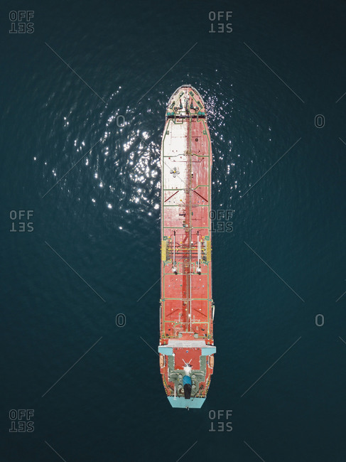 Indonesia- Bali- Aerial view of oil tanker