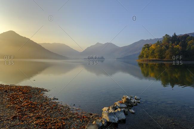 Germany- Upper Bavaria- Lake Schliersee- morning mood at spa park