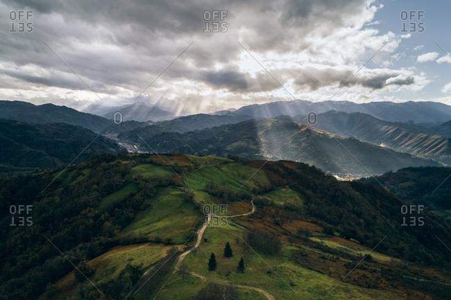 Spain- Asturias- Mountain landscape in autumn- sun light