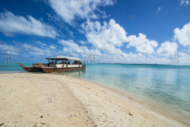 May 27, 2016: Cook Islands- Rarotonga- Aitutaki lagoon- traditional boat at the beach