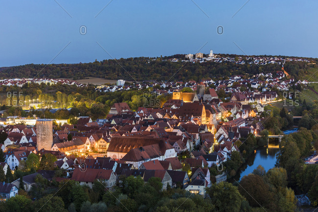 Germany- Baden-Wuerttemberg- Besigheim- Old town and Enz river in the evening