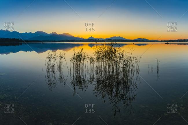 Germany- East Allgaeu- near Fuessen- Lake Hopfensee at sunset