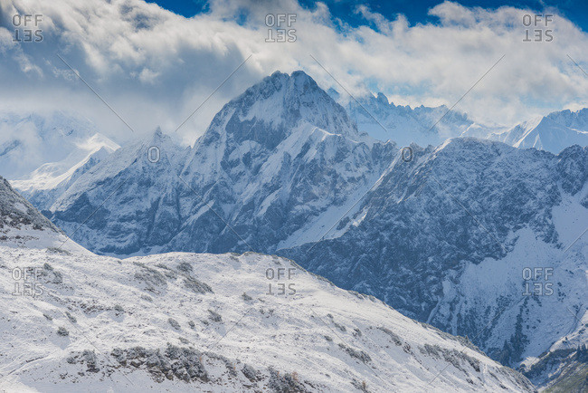 Germany- Bavaria- Allgaeu- Allgaeu Alps- View from Zeigersattel to Hoefats in winter