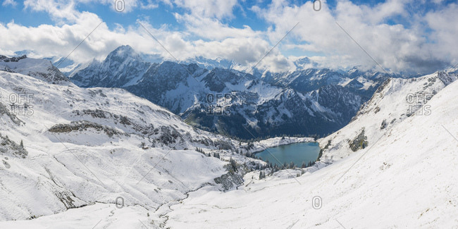 Germany- Bavaria- Allgaeu- Allgaeu Alps- View from Zeigersattel to Seealpsee in winter