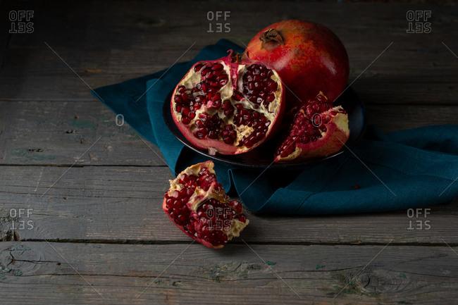 Ripe pomegranates red seeds