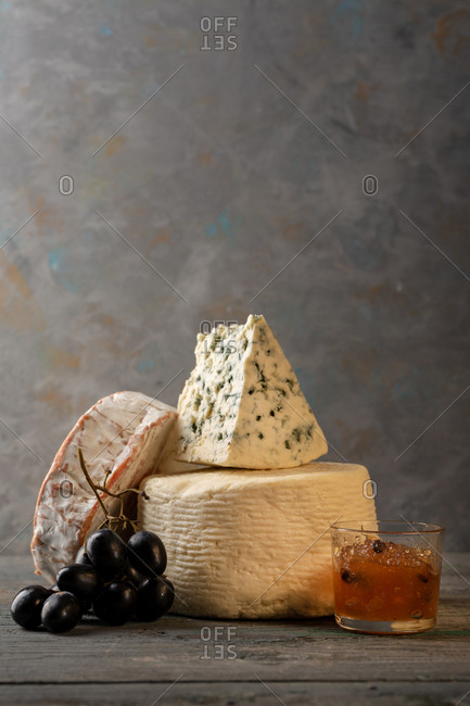 Cheese stack with fruit and cocktail