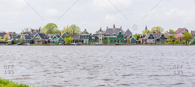 Traditional houses near the river in the Netherlands
