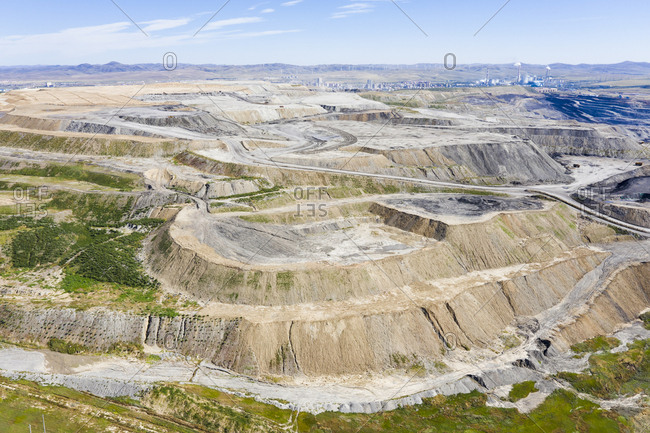 Open cast coal mining, Inner Mongolia, China, Asia.