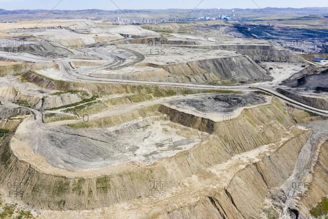 Open cast coal mining, Inner Mongolia, China, Asia.