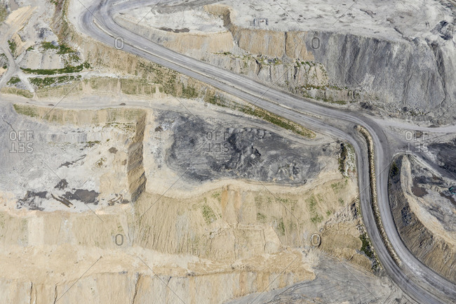 Road through open cast coal mining, Inner Mongolia, China, Asia.