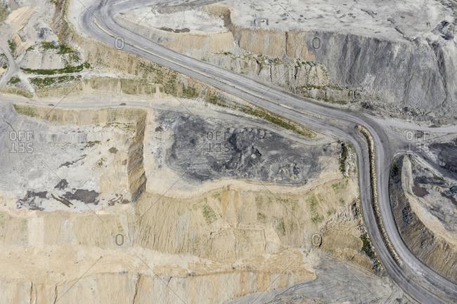 Road through open cast coal mining, Inner Mongolia, China, Asia.