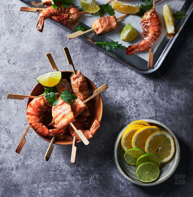 Shrimp and salmon kebobs