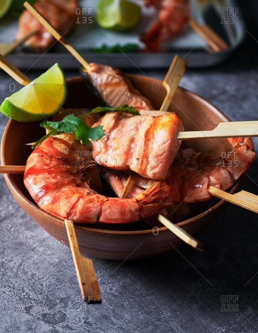 Salmon and shrimp grilled kebobs