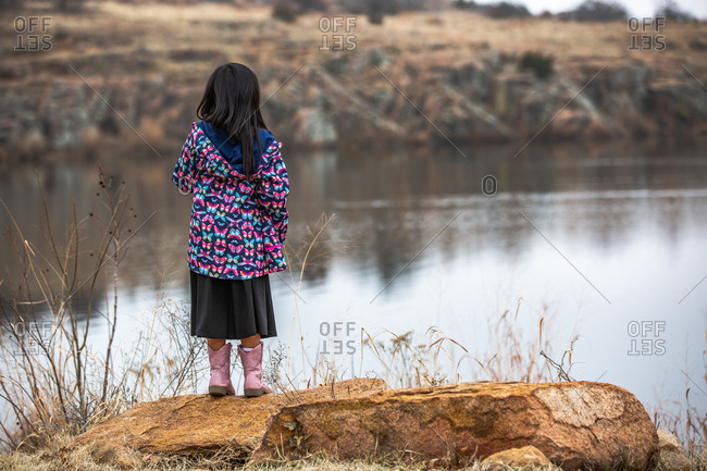Back view of girl wearing butterfly jacket looking out at lake