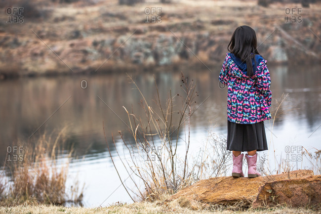 Rear view of girl wearing butterfly jacket looking out at lake