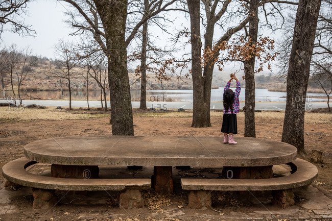 Young girl standing on stone picnic table in the woods
