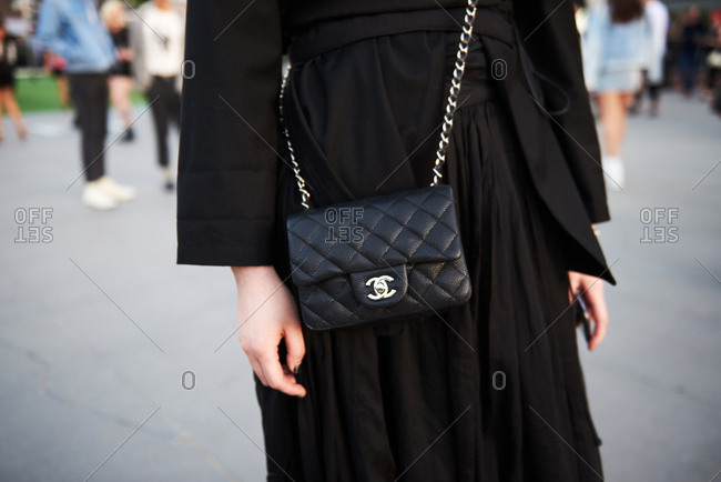 March 09, 2018- Melbourne, Australia: Fashion event guest wearing Chanel crossbody bag in all black