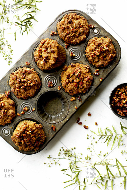 Pecan crumb cake muffins fresh out of the oven