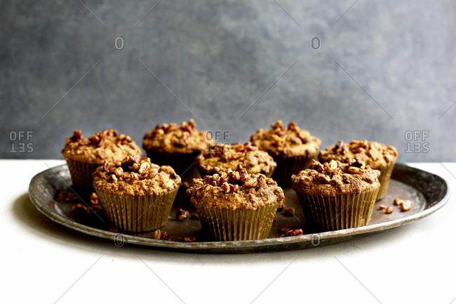 Close up of pecan crumb cake muffins