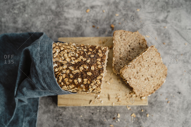 Healthy Oat wholemeal bread wrapped with a cloth