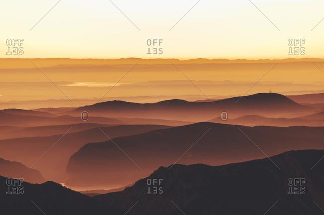 Landscape of orange sunset